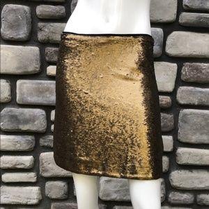 Gold Sequin Massimo Dutti Mini Skirt (NWT)